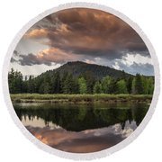 Dawn On The Snake River Round Beach Towel