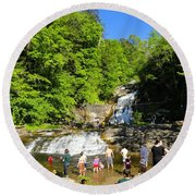 Day At Kent Falls State Park Round Beach Towel