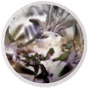 Day Lilies - Abstract Round Beach Towel