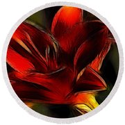 Day Lily Fractal Round Beach Towel
