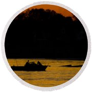 Day Of Fishing Is Over Round Beach Towel