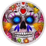 Day Of The Dead - Death Mask Round Beach Towel