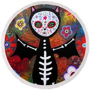 Day Of The Dead Bat Round Beach Towel