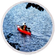 Day On The Lake Round Beach Towel