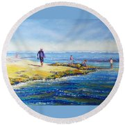 Day Out At Coloundra Beach Queensland2 Round Beach Towel