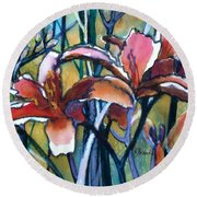 Daylily Stix Round Beach Towel by Kathy Braud