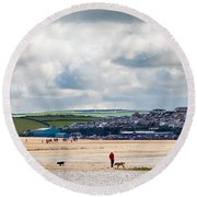 Daymer Bay Beach Landscape In Cornwall Uk Round Beach Towel