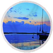 Day's End Rock Harbor Round Beach Towel