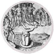 De Bry: Magician, 1591 Round Beach Towel