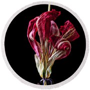 Dead Dried Tulip Round Beach Towel
