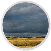 Dead Tree At Dusk With Storm Clouds Round Beach Towel