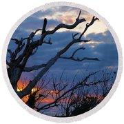 Dead Trees At Sunrise Round Beach Towel