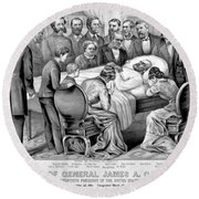 Death Of Garfield, 1881 Round Beach Towel