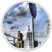 Decatur Alabama Industrial District Round Beach Towel