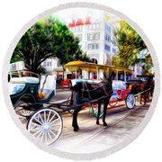 Decatur Street At Jackson Square Round Beach Towel by Bill Cannon