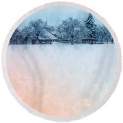 December Snow Round Beach Towel