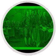 Declaration Of Independence In Green Round Beach Towel by Rob Hans