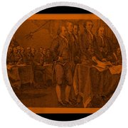 Declaration Of Independence In Orange Round Beach Towel