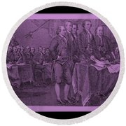 Declaration Of Independence In Pink Round Beach Towel