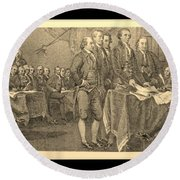 Declaration Of Independence In Sepia Round Beach Towel