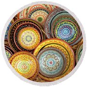 Decorative Plates Provence France Round Beach Towel