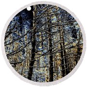 Deep In The Moonlit Forest Round Beach Towel