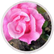 Deep Pink Watercolor Rose Blossom Round Beach Towel