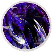 Deep Purple Abstract Round Beach Towel