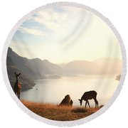 Deer At Sunset Round Beach Towel by Pixel  Chimp