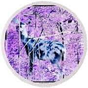 Deer In The Woods Inverted Negative Image Round Beach Towel