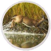 Deer Running Through The Salt Marsh Round Beach Towel