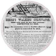 Deere Plow, 1869 Round Beach Towel