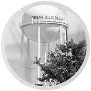Deerfield Beach Tower In Black And White Round Beach Towel