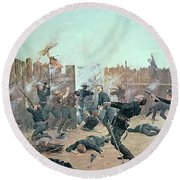 Defending The Fort Round Beach Towel by Charles Schreyvogel