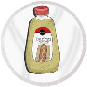 Deli Style Mustard Round Beach Towel by George Pedro