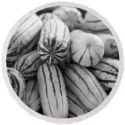 Delicata Winter Squash In Black Round Beach Towel