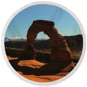 Delicate Arch Under Moonlight Round Beach Towel
