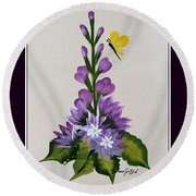 Delphenium And Butterfly Round Beach Towel