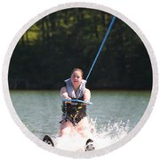 Demi Skiing Round Beach Towel