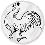 Democratic Rooster, 1840 Round Beach Towel