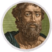 Demosthenes, Ancient Greek Orator Round Beach Towel by Photo Researchers
