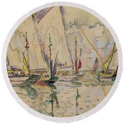 Departure Of Tuna Boats At Groix Round Beach Towel