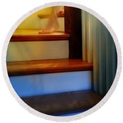 Descending The Stairs Round Beach Towel