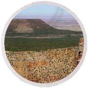 Desert Watch Tower View Round Beach Towel