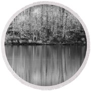 Desolate Splendor Bw Round Beach Towel