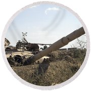 Destroyed Iraqi Tanks Near Camp Slayer Round Beach Towel by Terry Moore