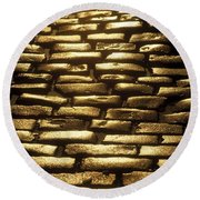 Detail Of Cobblestones, Dublin, Ireland Round Beach Towel