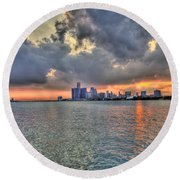 Detroit Sunset  Round Beach Towel