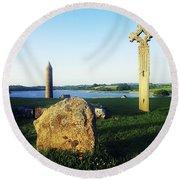 Devenish Island, Co Fermanagh, Ireland Round Beach Towel