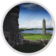 Devenish Monastic Site, Lough Erne, Co Round Beach Towel